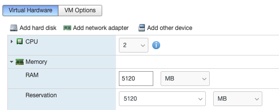 Adjusting VMware Resources
