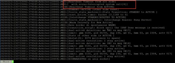Excerpt from Avaya Communication Manager log file showing interchange