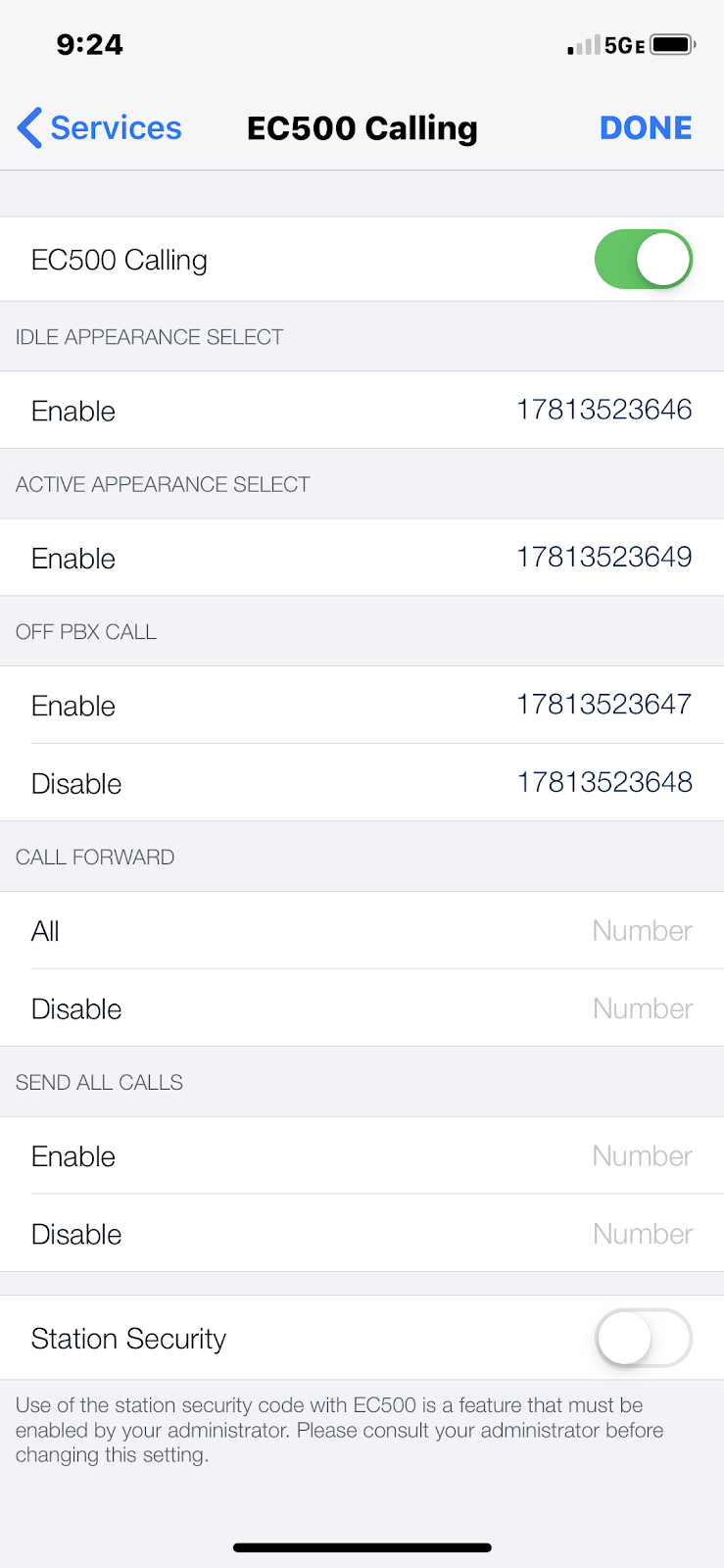 Avaya Equinox iOS adding direct inward dial numbers